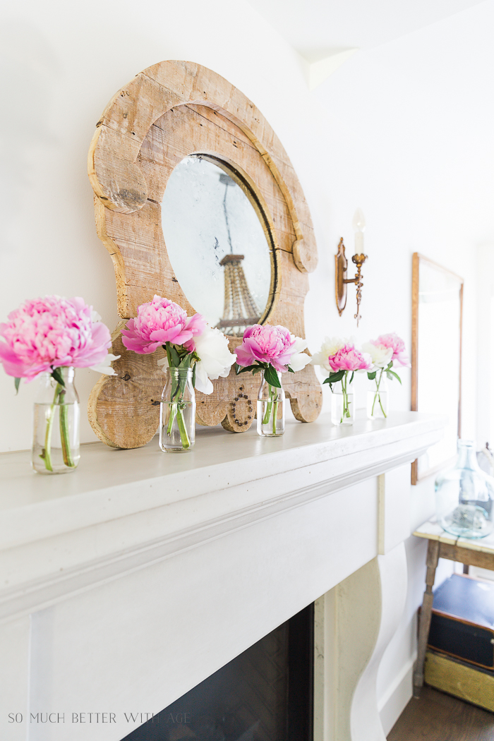 Simple Summer Mantel with Peonies/limestone mantel - So Much Better With Age