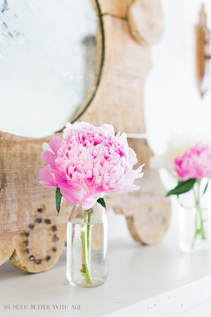 Simple Summer Mantel with Peonies/French vintage mantel - So Much Better With Age