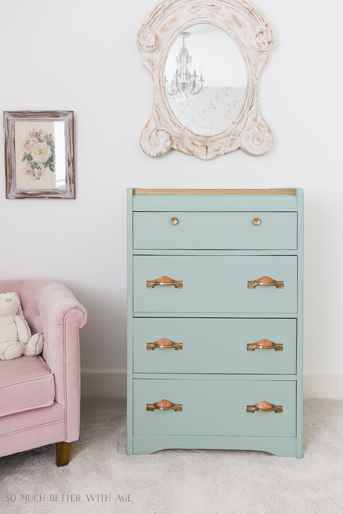 Piping on Furniture Technique-Add French Details/gold and green dresser - So Much Better With Age