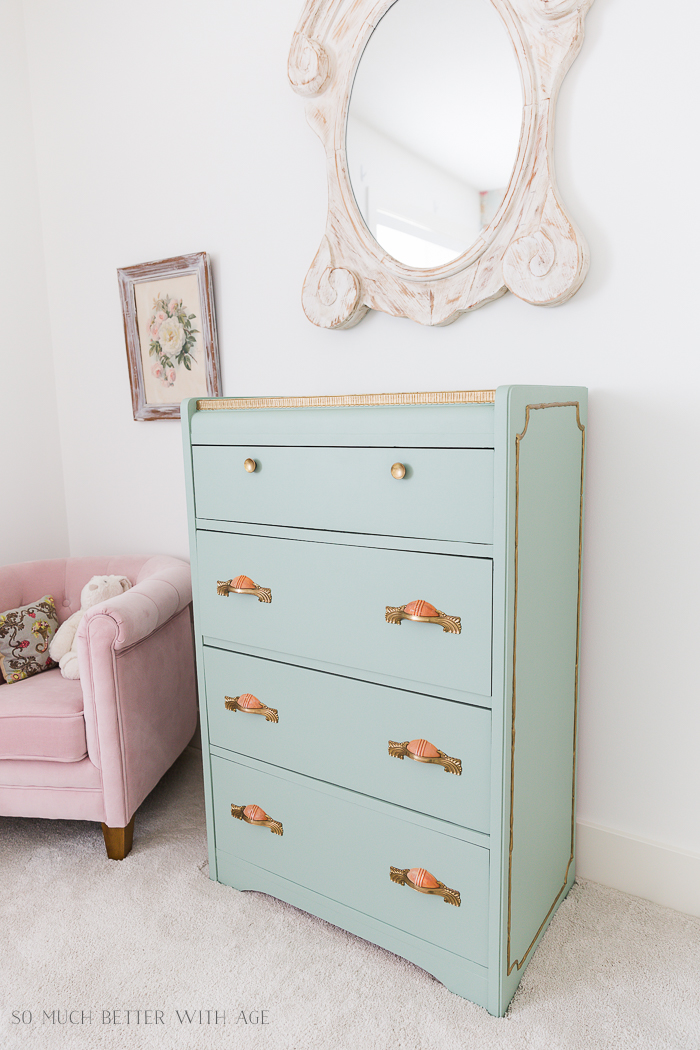 Piping on Furniture Technique-Add French Details/green gold dresser in girl's room - So Much Better With Age