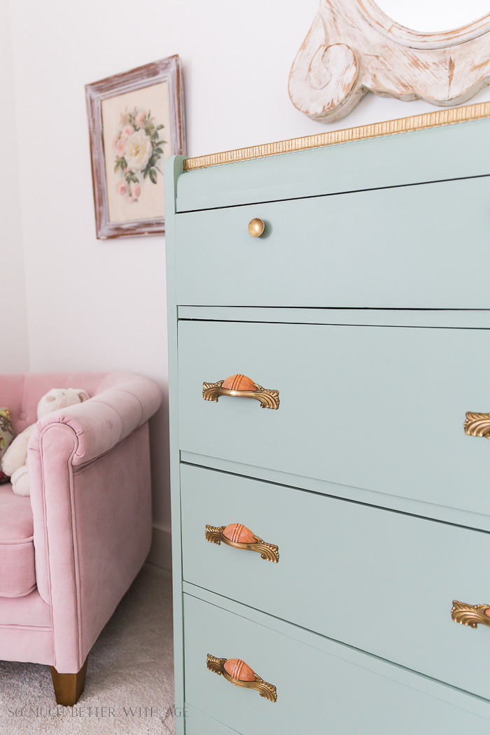 Piping on Furniture Technique-Add French Details/girl's room, pink chair green dresser - So Much Better With Age