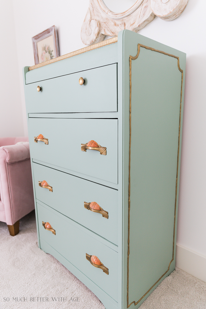 Piping on Furniture Technique-Add French Details/green and gold dresser, pink handles - So Much Better With Age