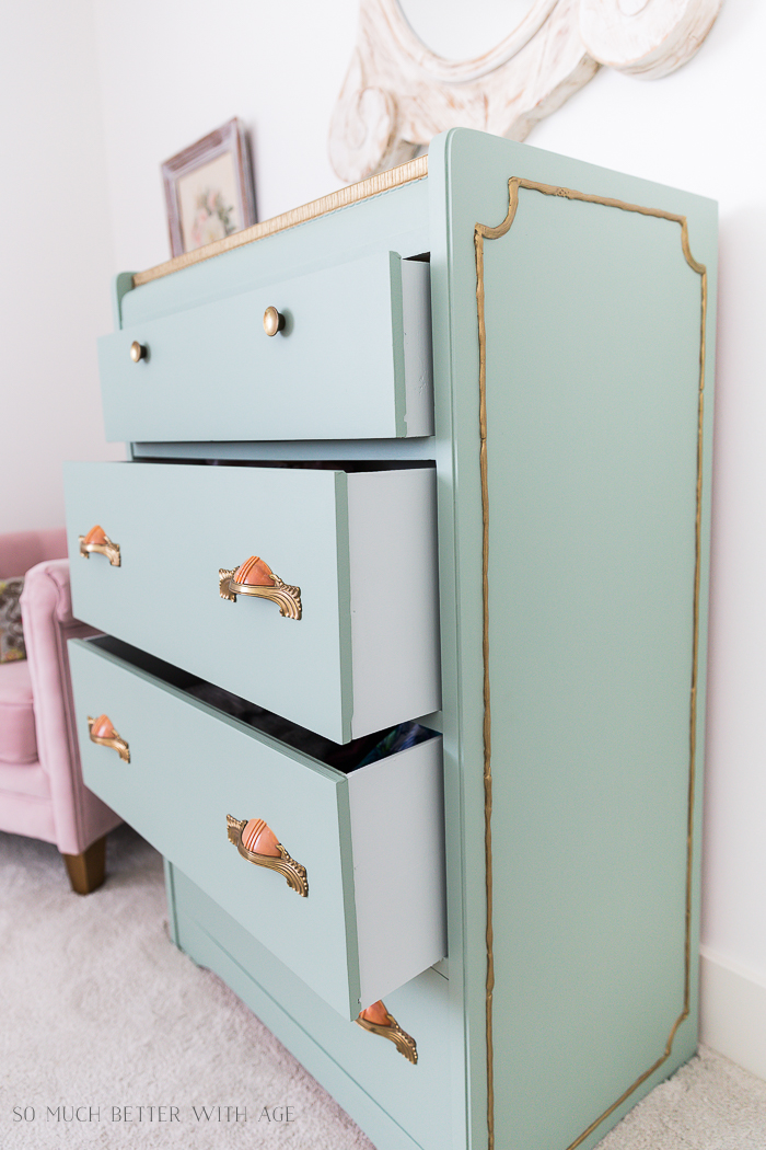 How to Paint Furniture for a Professional Look /green and gold dresser- So Much Better With Age