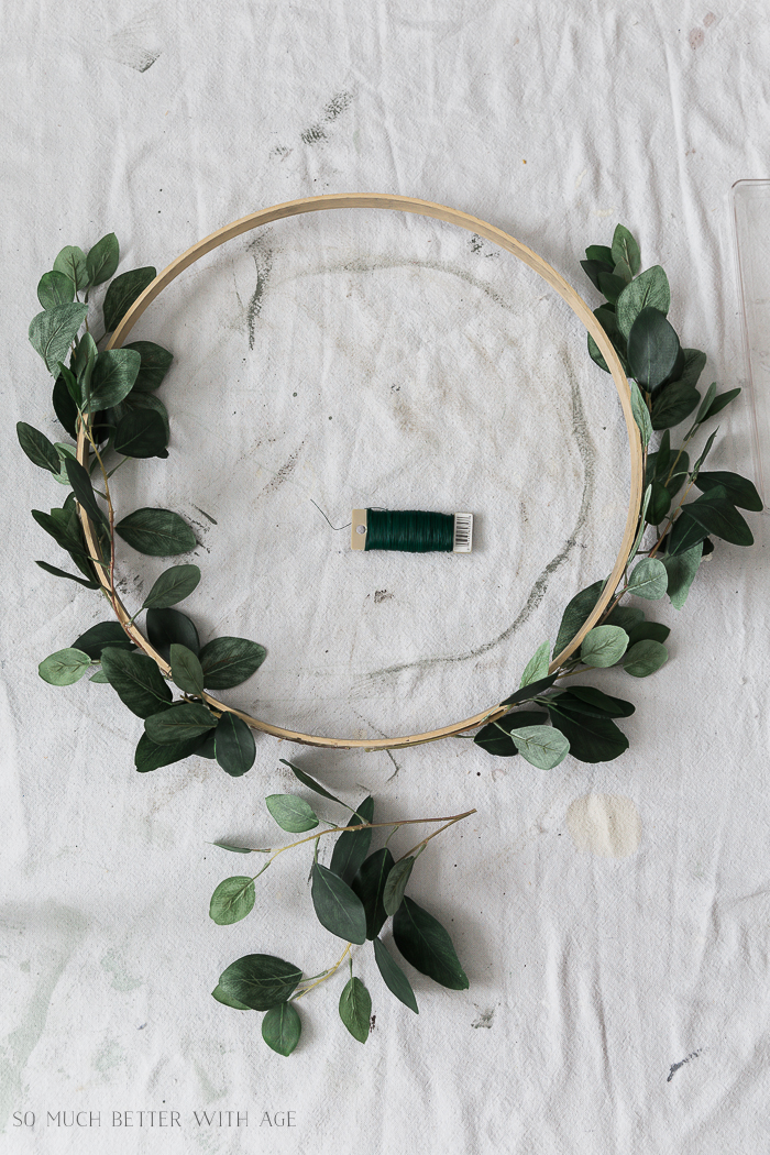 Summer Greenery Hoop Wreath/faux greenery on embroidery hoop - So Much Better With Age