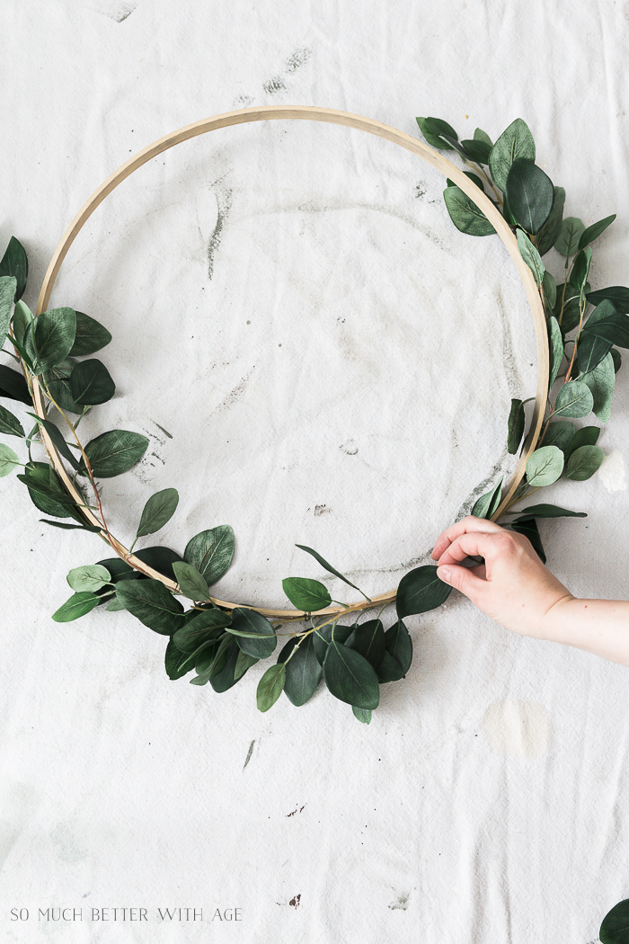 Summer Greenery Hoop Wreath/lay out faux greenery - So Much Better With Age