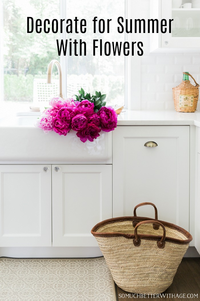 Decorate for summer with flowers poster.