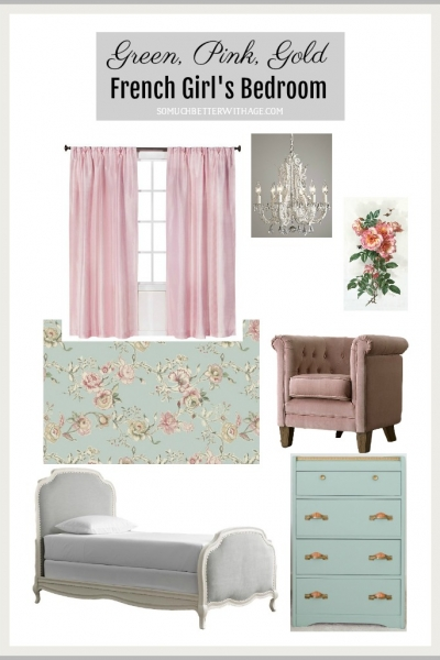 Green, Pink and Gold French Girl's Bedroom