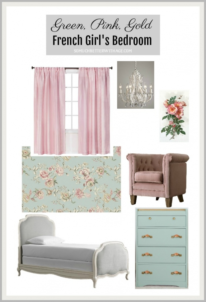 Green, Pink and Gold French Girl's Bedroom | So Much ...