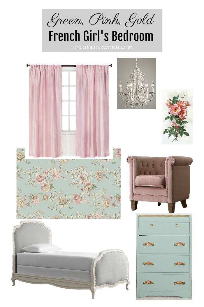 Green, Pink, Gold French Girl's Bedroom - So Much Better With Age