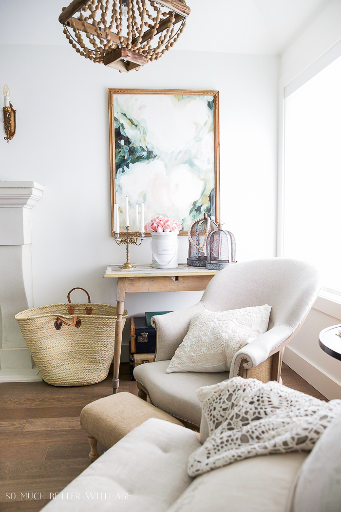 White chairs and tote bag in living room.