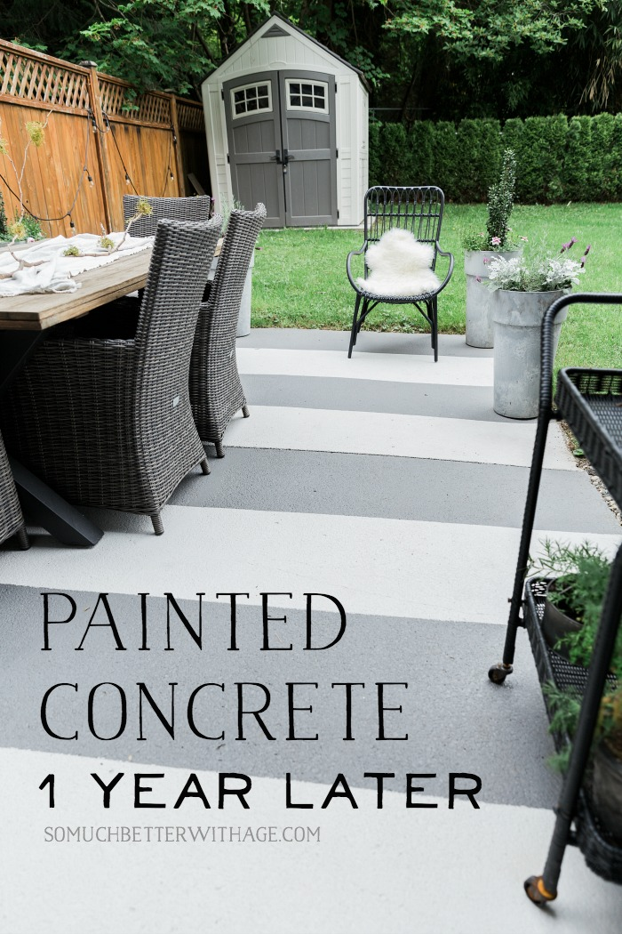 Painted Concrete Patio One Year Later - So Much Better With Age