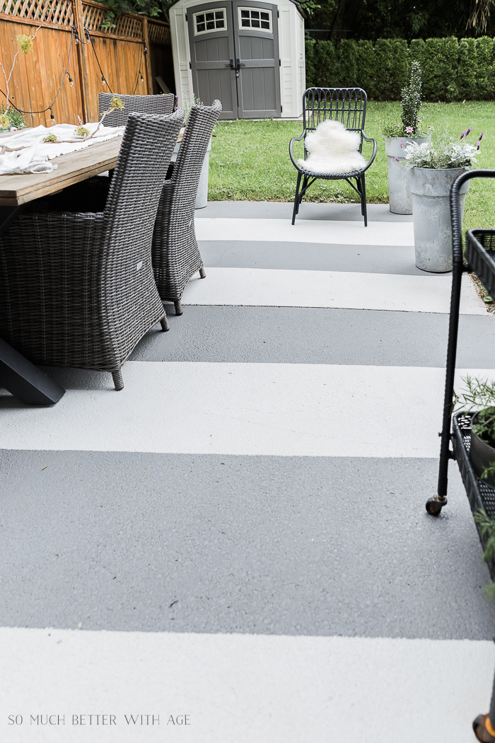 Grey and white striped concrete patio.