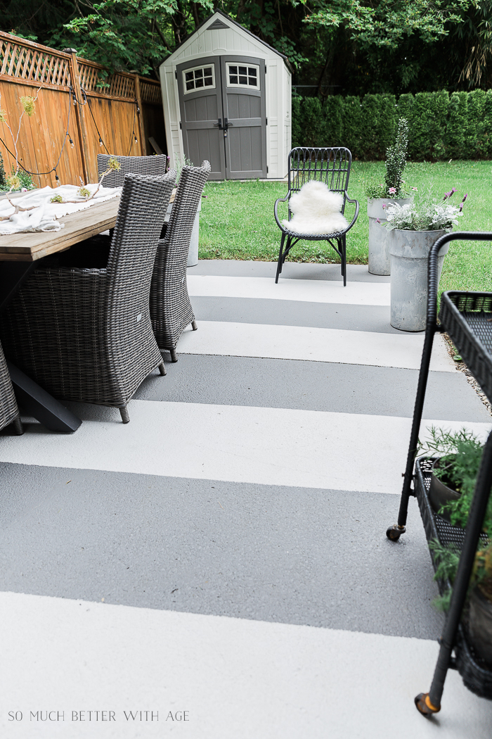I painted my concrete patio slab last year and concrete pavers by my front  door and I'm showing how they look one year later. - Painted Concrete Slab And Brick Pavers One Year Later So Much