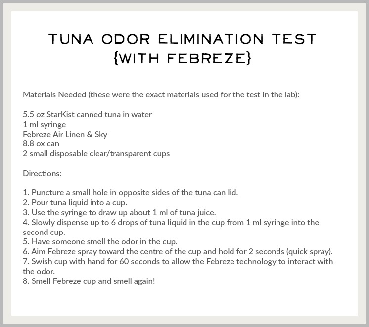 Did you know your home already has a signature scent/Tuna odor elimination test Febreze- So Much Better With Age