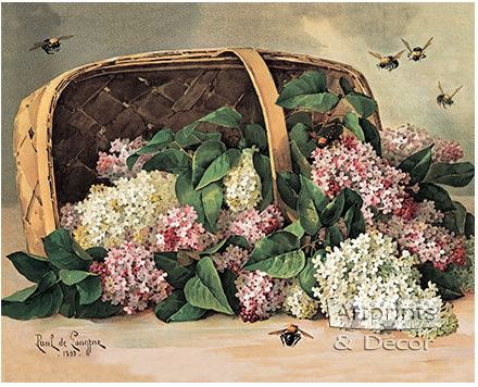 Paul do Longpre Floral Prints, My Favorite French Artist/ A Basket of Lilacs - So Much Better With Age