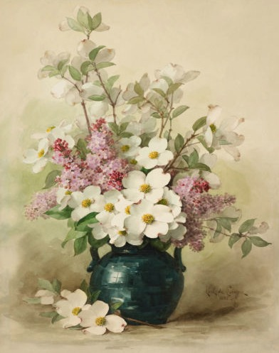 Paul do Longpre Floral Prints, My Favorite French Artist/ Lilacs and Dogwood in a Blue Vase - So Much Better With Age