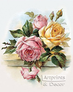 Paul do Longpre Floral Prints, My Favorite French Artist/Pink and Yellow Roses - So Much Better With Age