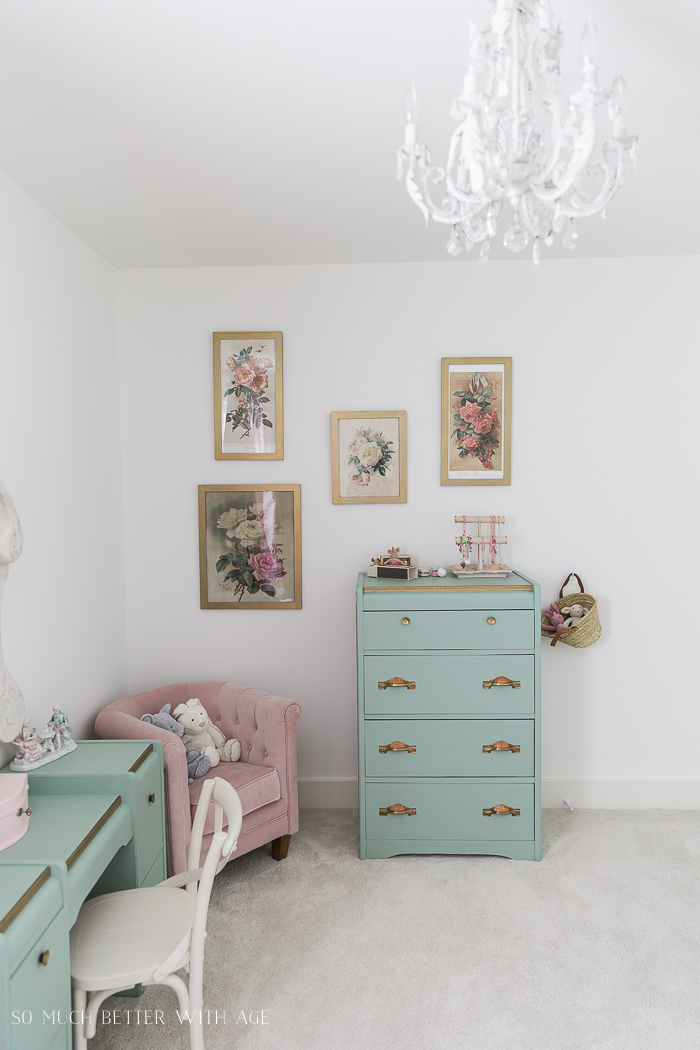 Sweet Details of My Little Girl's French Bedroom/chandelier, floral artwork, green dresser - So Much Better With Age