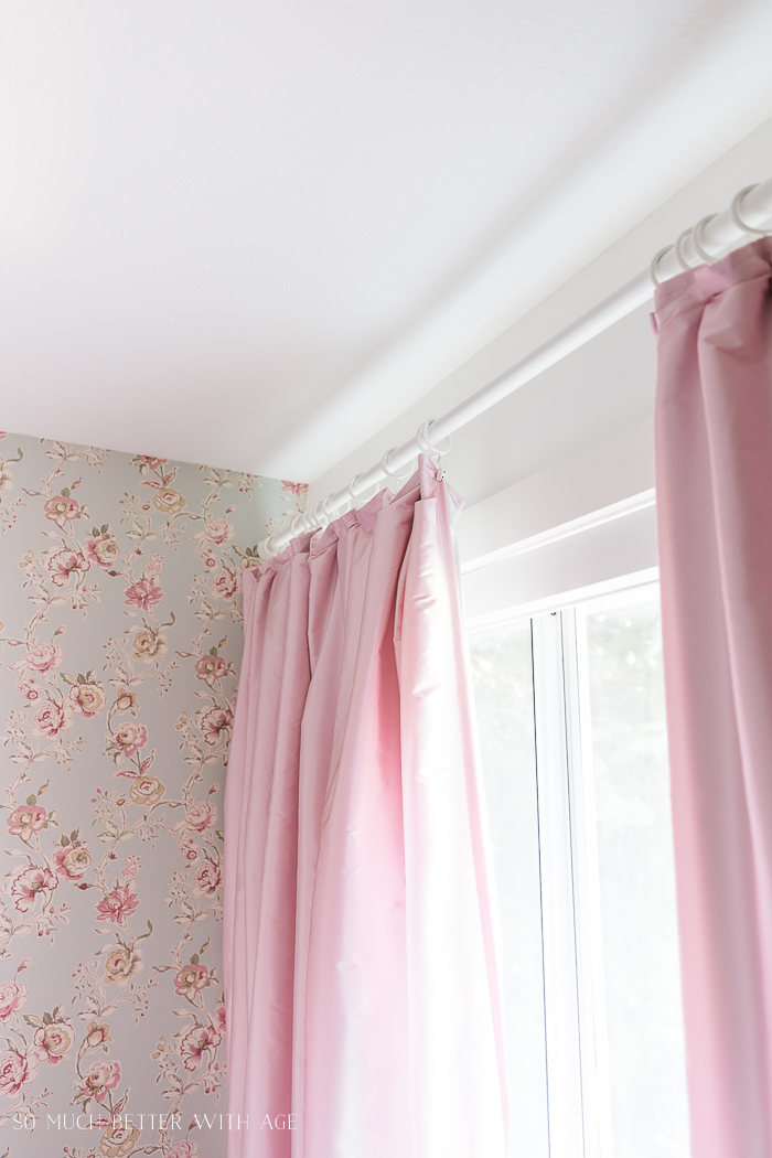 DIY Pinch Pleats with No Sewing/pink taffeta curtains - So Much Better With Age