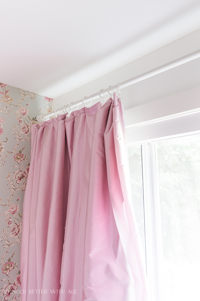 DIY Pinch Pleats with No Sewing/pink curtains, curtain rod - So Much Better With Age