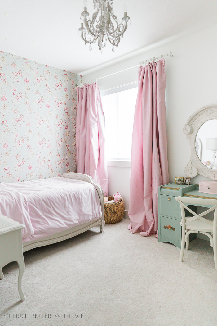 Sweet Details of My Little Girl's French Bedroom/pink silk curtains - So Much Better With Age