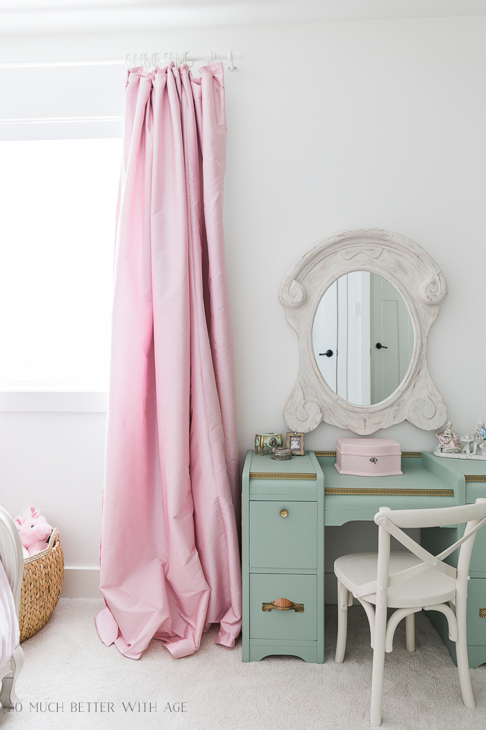 DIY Pinch Pleats with No Sewing/French girl's room pink curtains - So Much Better With Age