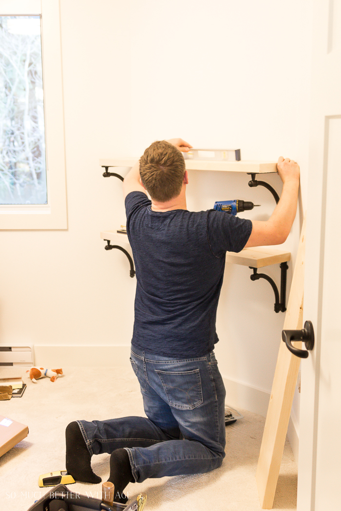 DIY Wooden Shelves & How to Install Them/installing shelving brackets - So Much Better With A