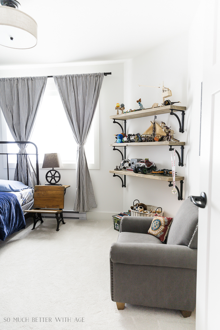 DIY Wooden Shelves & How to Install Them/Industrial boy's space bedroom - So Much Better With A