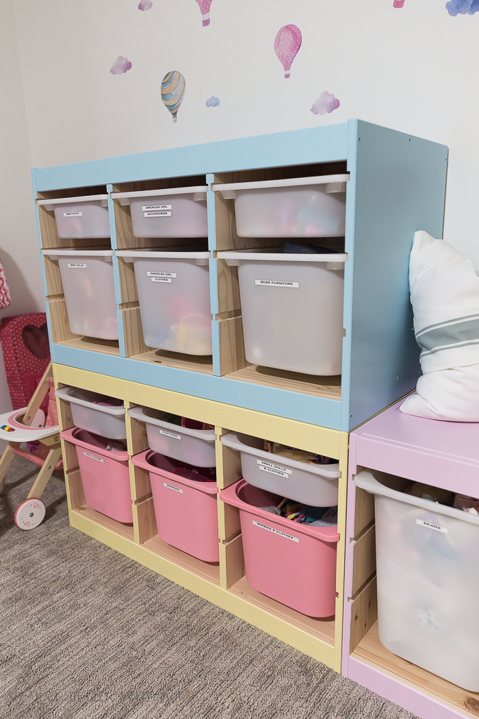 Kids' Playroom Makeover with Hot Air Balloons/pastel painted shelves - So Much Better With Age
