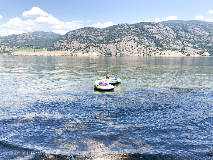 Kids floating in lake on inflatables.
