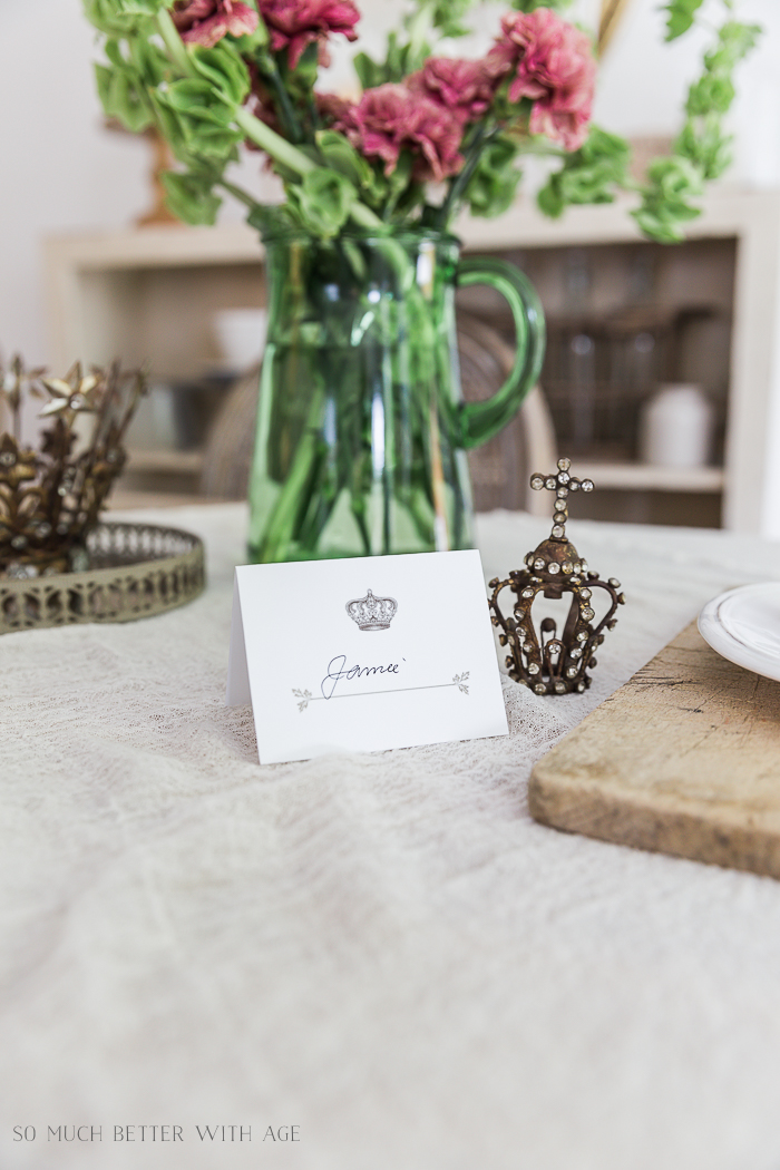 Crown and Leaf Place Card Free Printable/ place card setting - So Much Better With Age