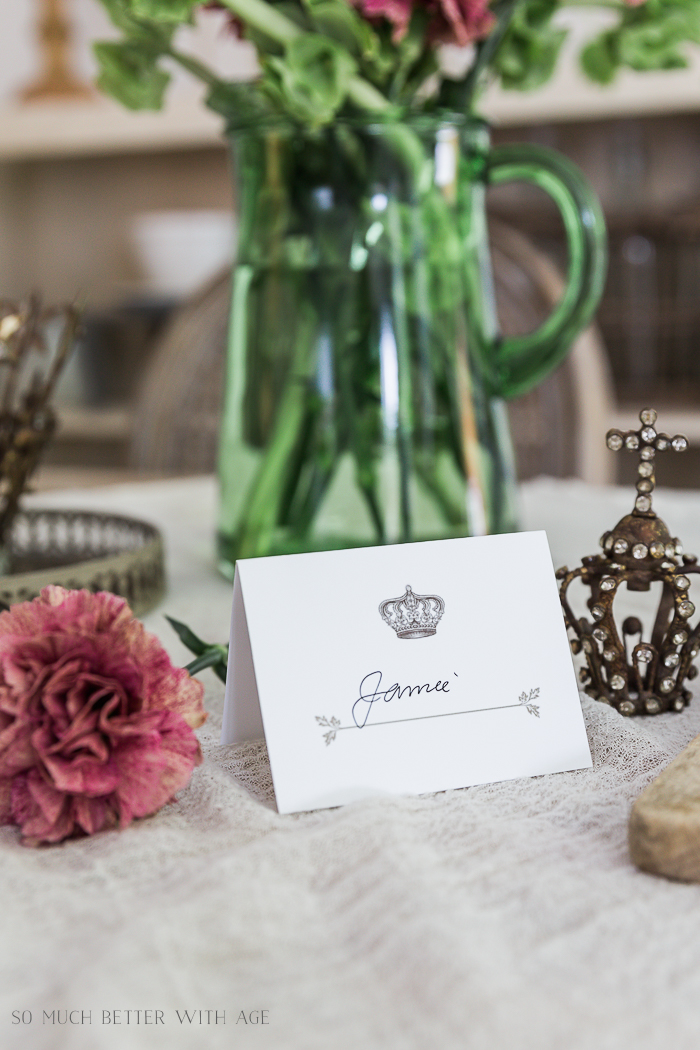 Crown and Leaf Place Card Free Printable - So Much Better With Age