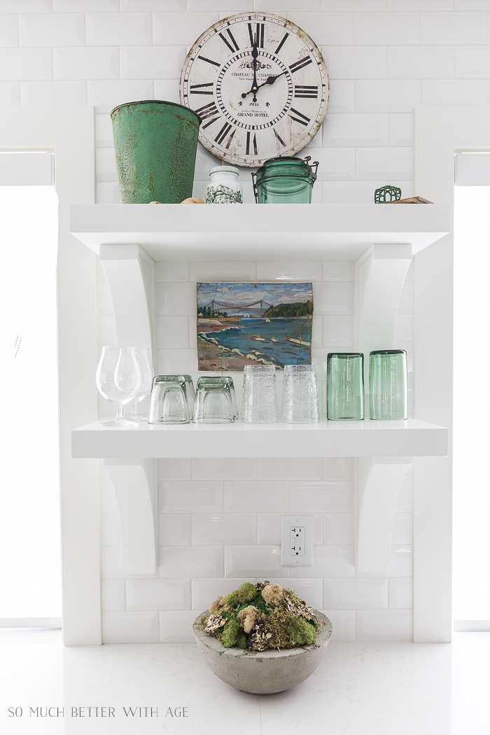 French Charcuterie Board/white kitchen shelves with green - So Much Better With Age
