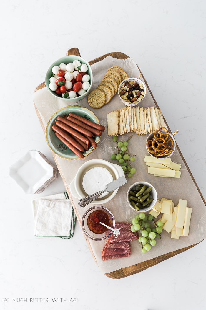 French Charcuterie Board/cheese, crackers, meat, pretzels - So Much Better With Age