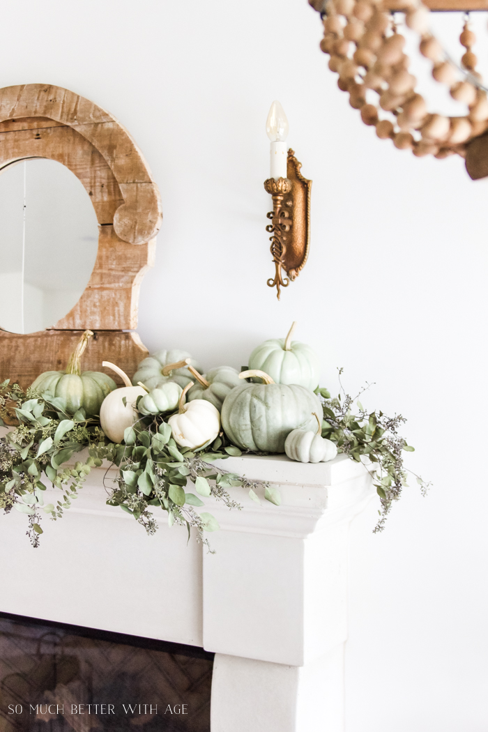 Heirloom Pumpkin Workshop/green pumpkins on mantel - So Much Better With Age