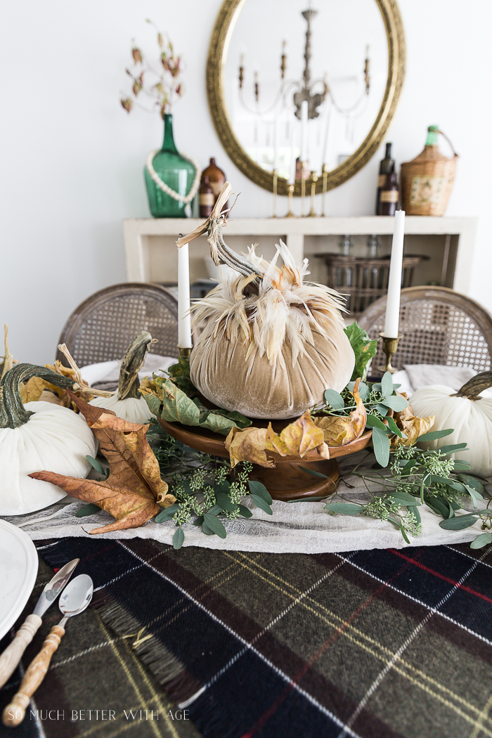 Velvet Pumpkin Centrepiece/plaid tablecloth, fall leaves - So Much Better With Age