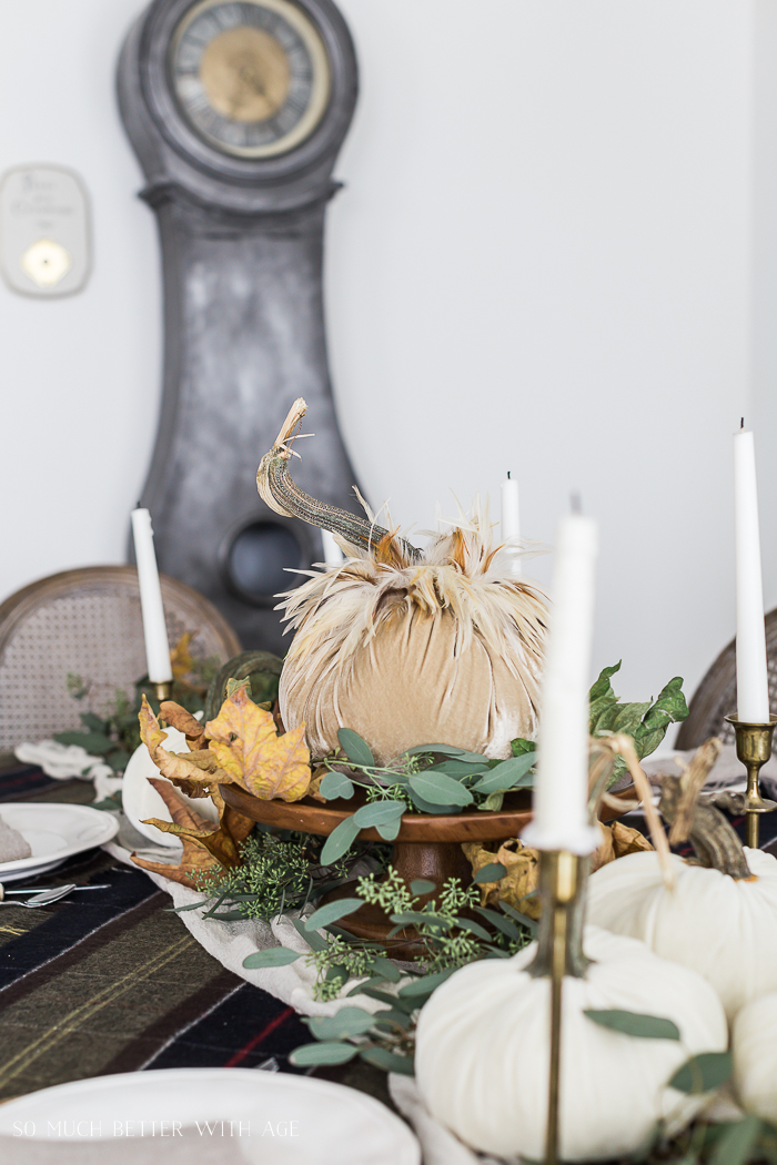 Velvet Pumpkin Centrepiece/ mora clock, fall table setting - So Much Better With Age