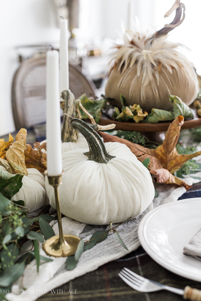 Velvet Pumpkin Centrepiece/fall tables cape - So Much Better With Age