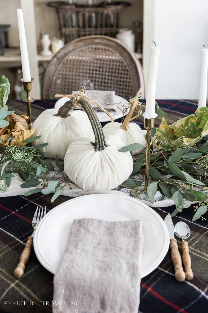 Velvet Pumpkin Centrepiece/white pumpkins, plaid tablecloth - So Much Better With Age