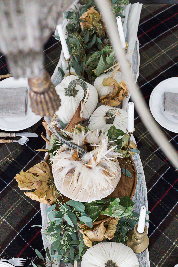 Velvet Pumpkin Centrepiece/plaid tablecloth, eucalyptus - So Much Better With Age