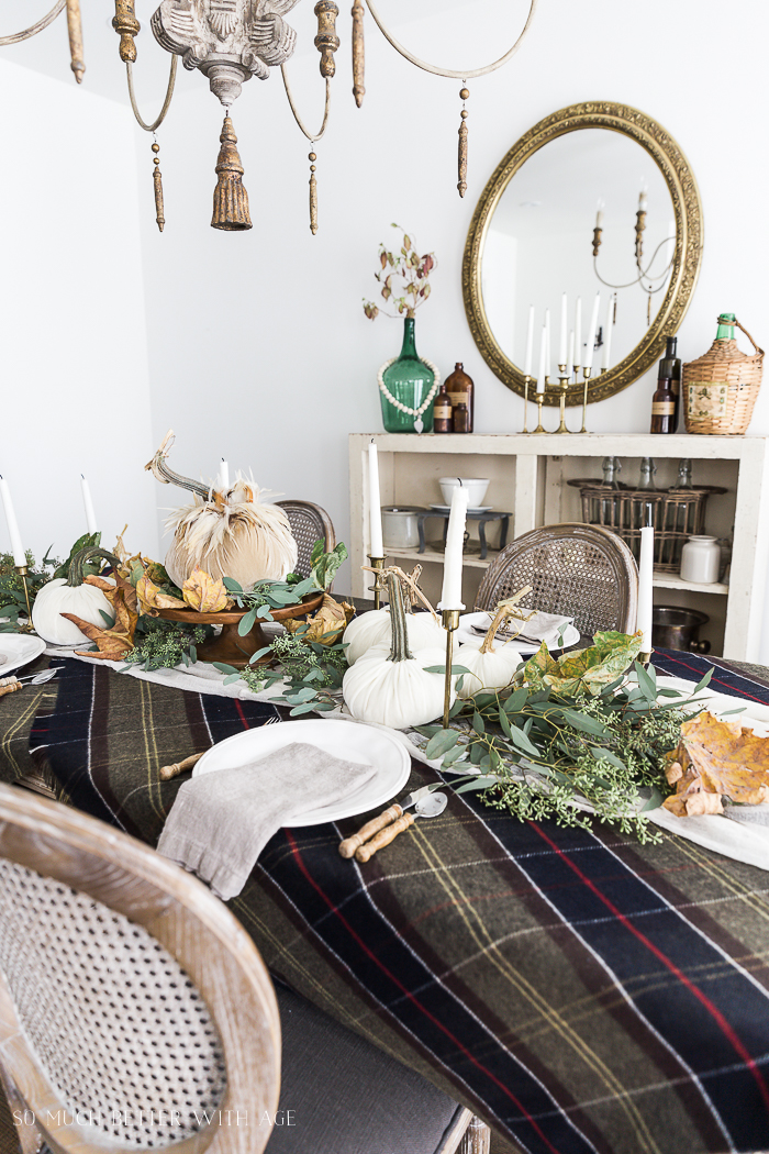 Velvet Pumpkin Centrepiece/plaid tablecloth - So Much Better With Age