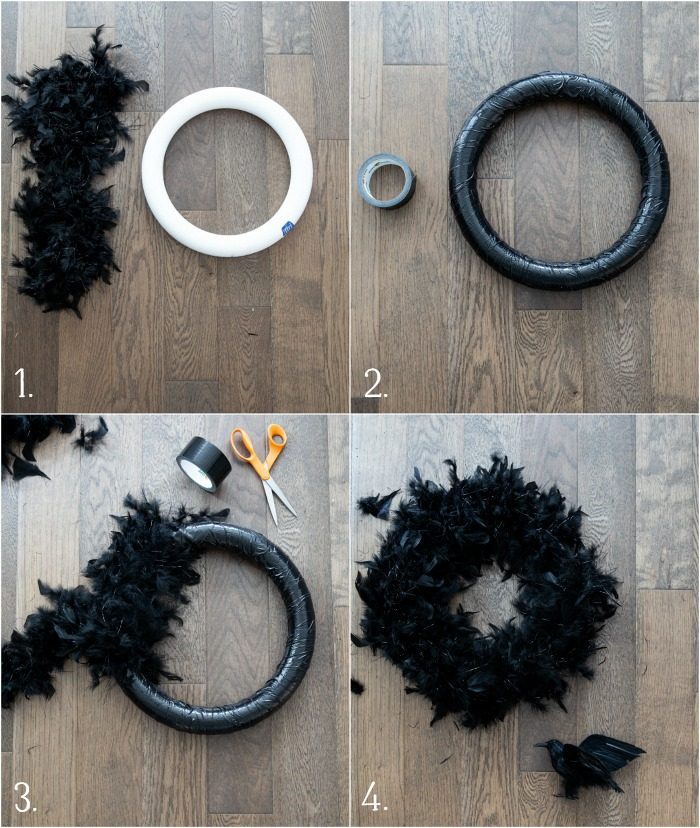 The tutorial covering the wreath with black feathers.