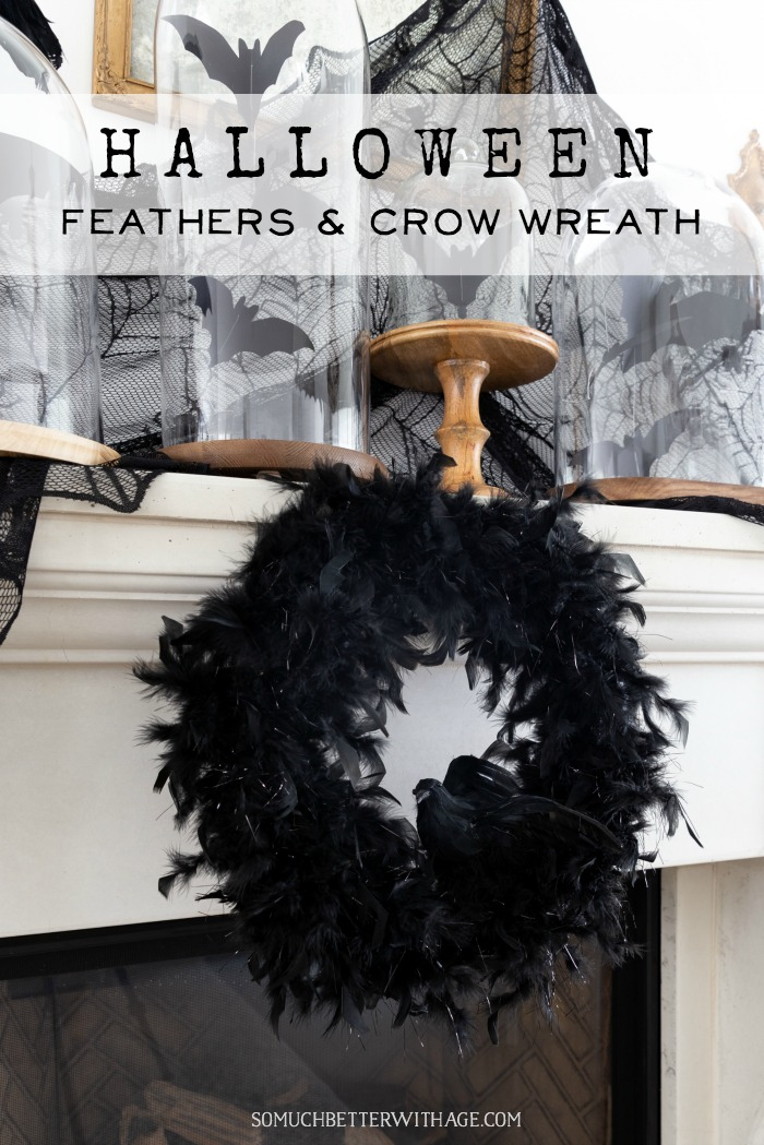 Halloween Feathers and Crow Wreath graphic - So Much Better With Age poster.