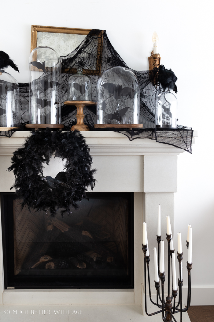Halloween Decorating with Bats and Crows/glass cloches, candles - So Much Better With Age