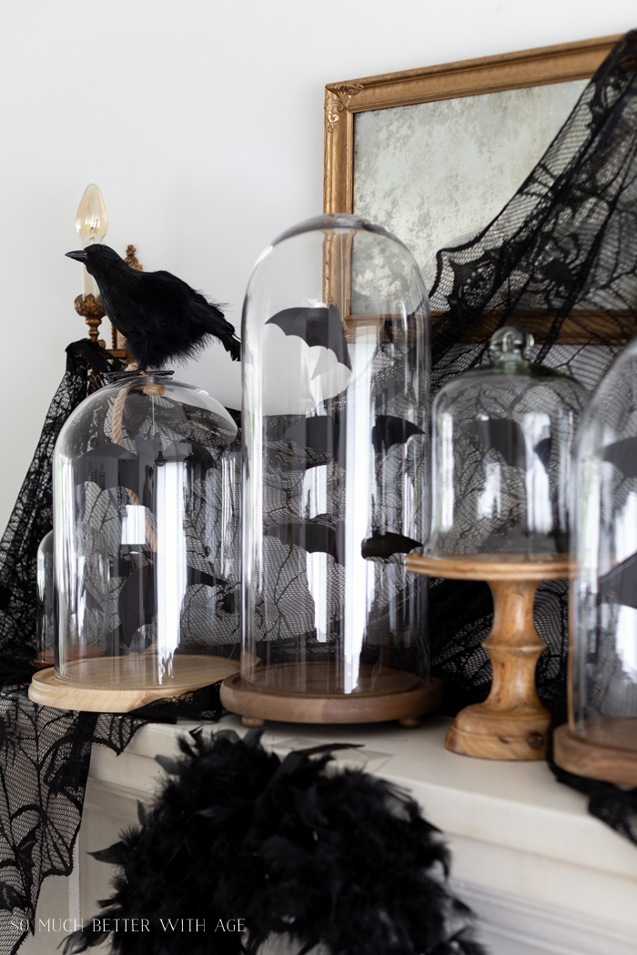 Halloween Mantel Decorating with Bats and Crows/bats in glass cloches - So Much Better With Age