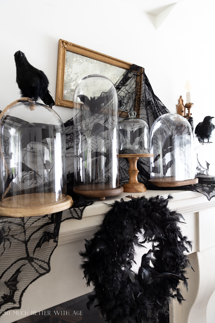 Halloween Decorating with Bats and Crows/feather wreath - So Much Better With Age