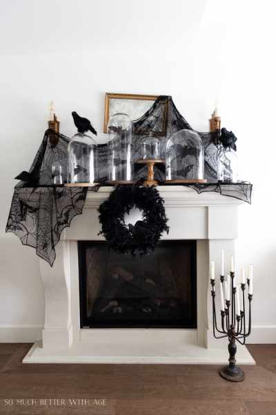Halloween Mantel Decorating with Bats and Crows
