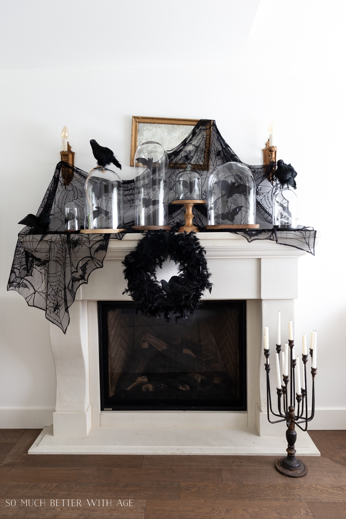 Halloween Mantel Decorating with Bats and Crows - So Much Better With Age