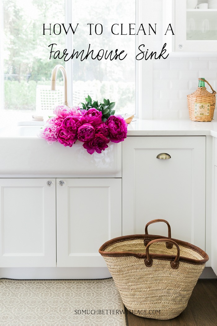 How to Clean A White Apron Front Farmhouse Sink graphic.