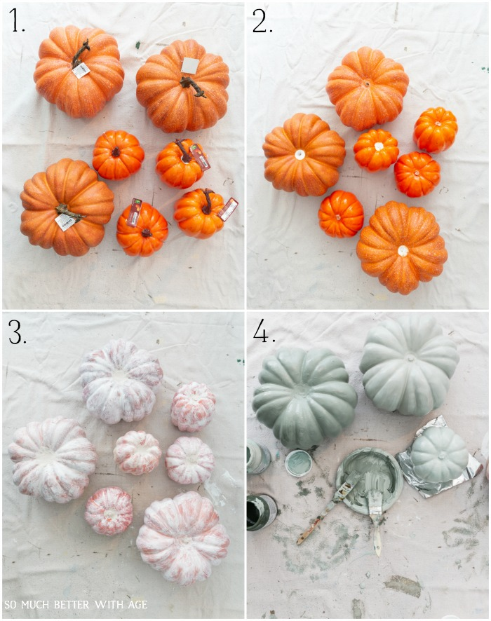 Orange pumpkins on a drop cloth, paining the pumpkins a muted color.